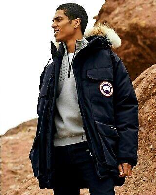 Hombre Canada Goose Expedition Parka Larga Piel Arctic Winter Abrigo Black M