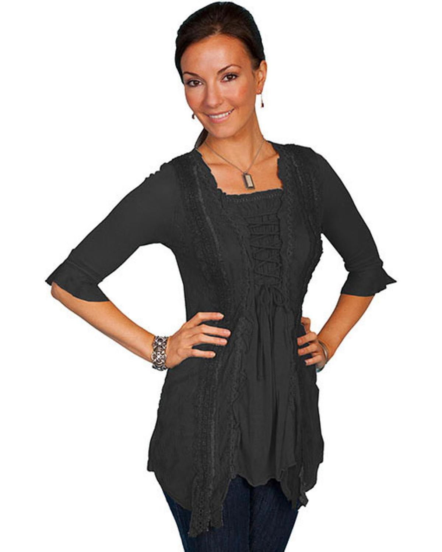 SCULLY Women's Honey Creek Black Ruffle Sleeve Lace-Up Western Shirt HC98 NWT