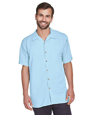 Harriton Men's Bahama Cord Camp Shirt M570 66% Rayon 34% Polyester S-4XL Mens Cord Camp Shirt