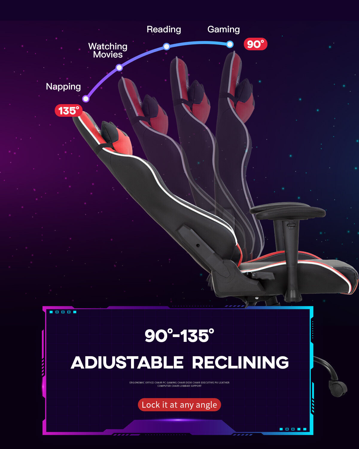 Gaming Chair Racing Chair Computer Chair with Lumbar Support Headrest Armrest PC Business & Industrial