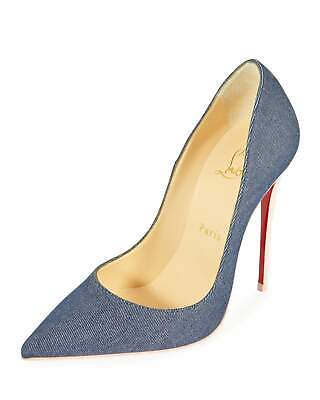 Christian Louboutin So Kate 120mm Pointy Toe Blue Pink Red Sole Denim Pump 39/9