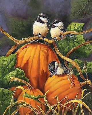 """Chickadees and Pumpkins Fall Garden Flag Thanksgiving Autumn Birds 12.5"""" x 18"""""""