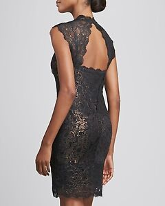 $420 NWT Black Gold Nicole Miller Stretch Lace Club Cocktail Eva Dress L USA