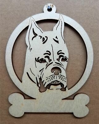 Boxer cropped ears dog ornament wooden Christmas Gift D-18