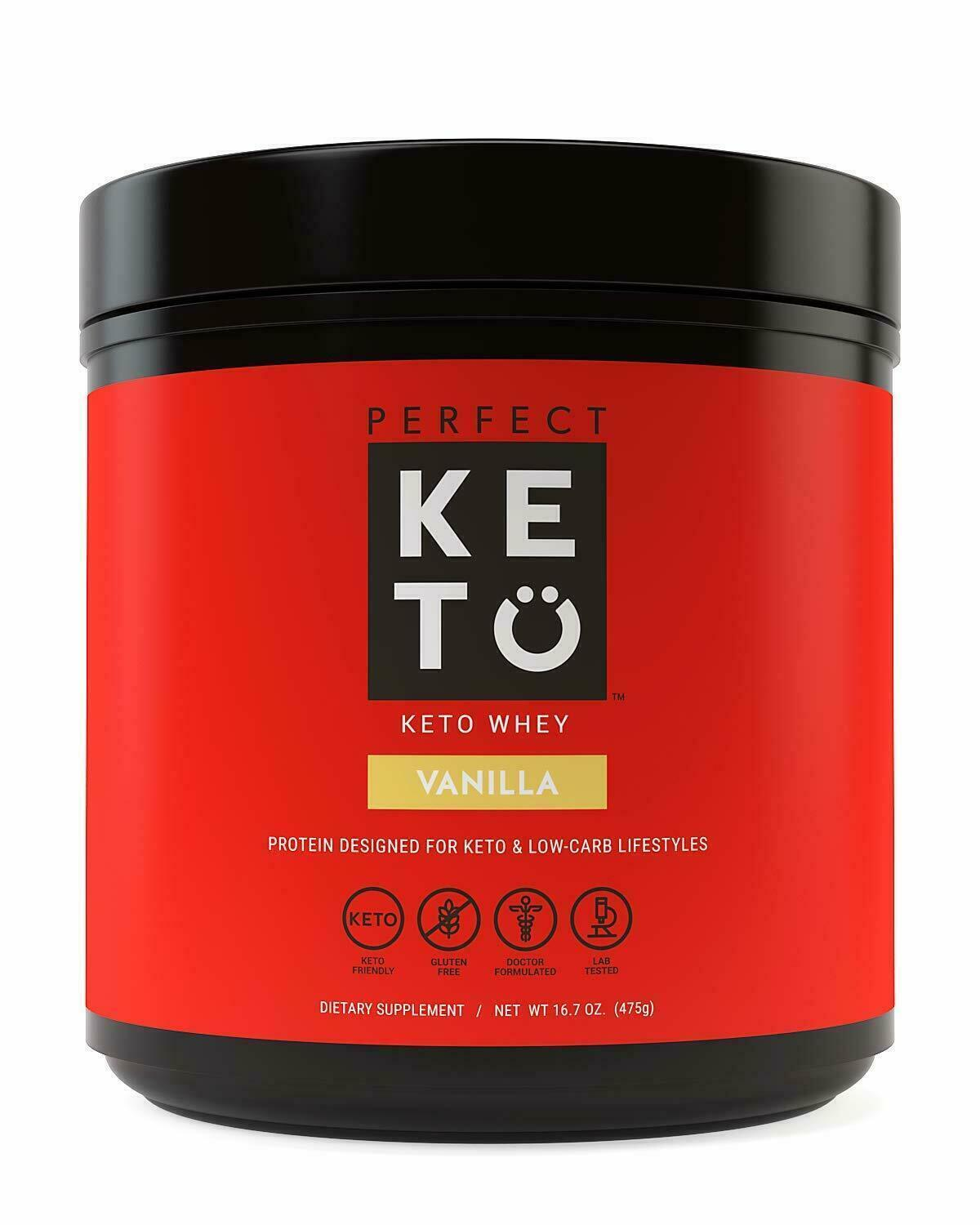 Perfect Keto Vanilla Whey Protein Powder Isolate W/ MCT Powd