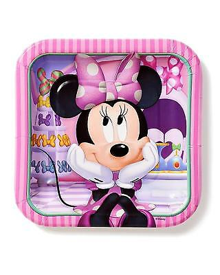 use Bowtique 7 in Square Plate, Pack of 8, Party Supplies (Minnie Bowtique Party)