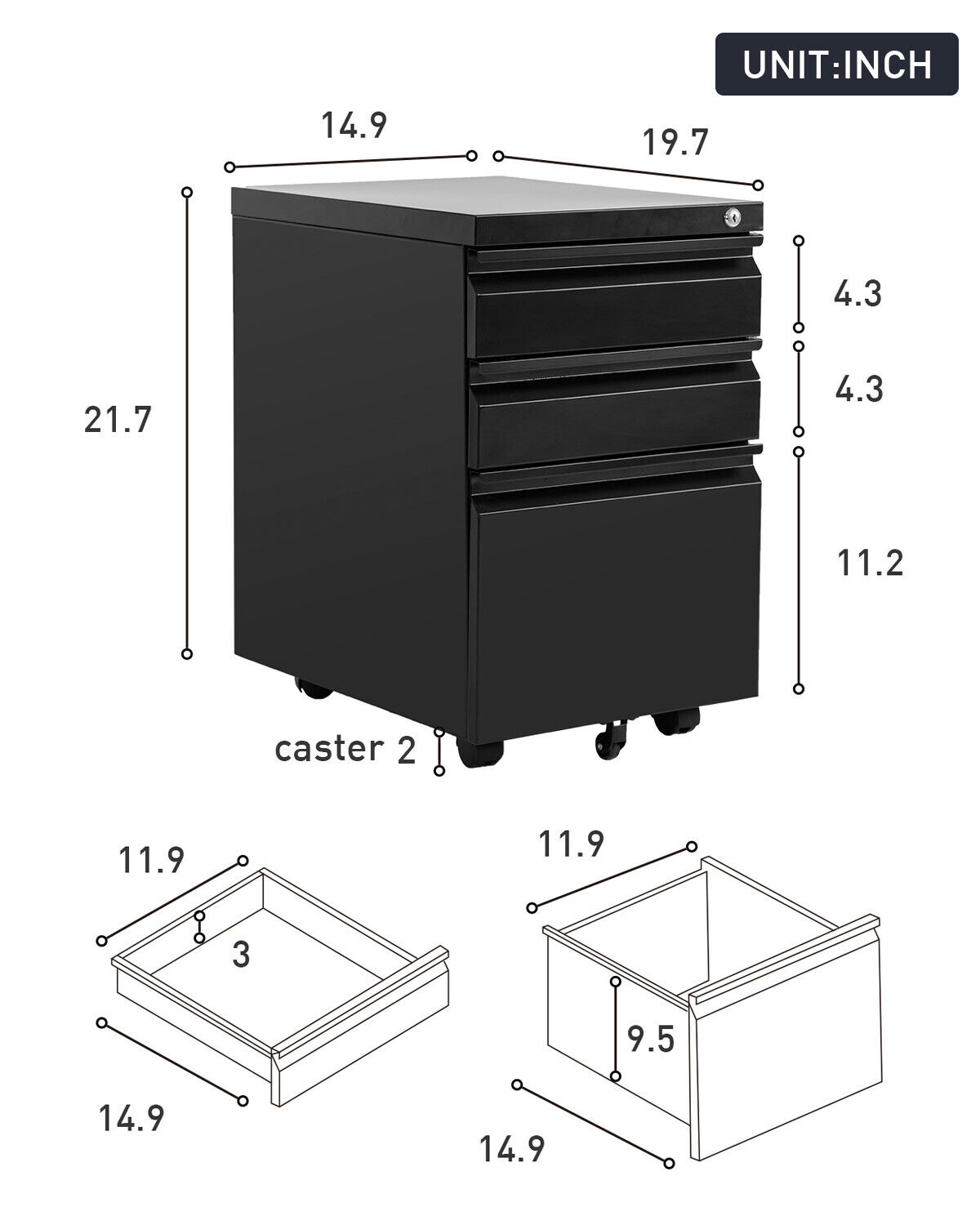 Metal File Cabinet With Wheels 3 Drawer File Cabinet Filling Cabinet Mobile Business & Industrial