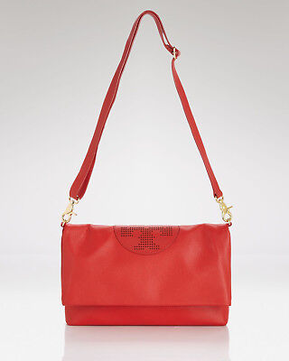 AUTHENTIC NWT TORY BURCH KIPP Leather Foldover Crossbody Bag RED Gold $450+