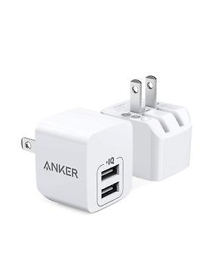 Anker 2-Pack Dual Port 12W Wall Charger + Foldable Plug for iPhone Samsung iPad