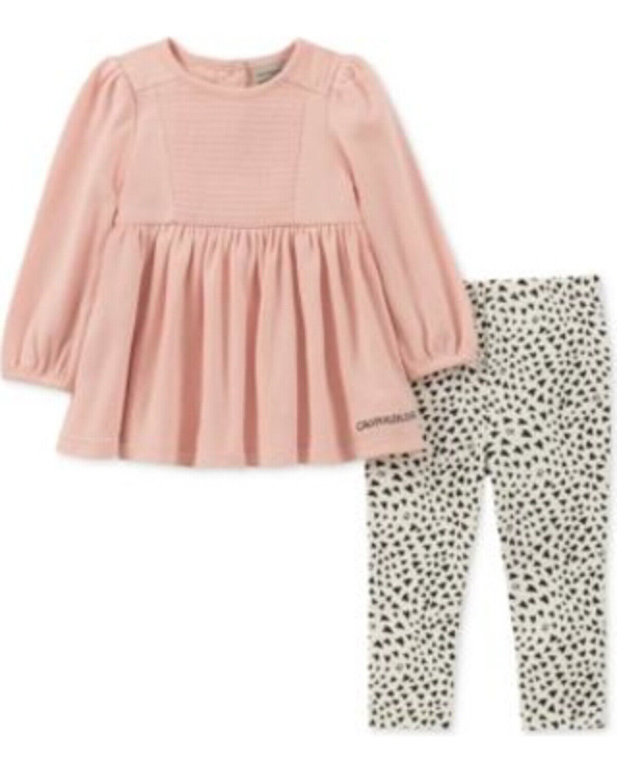 NEW Calvin Klein Baby Girls 2 Piece Ribbed Tunic and Hearts