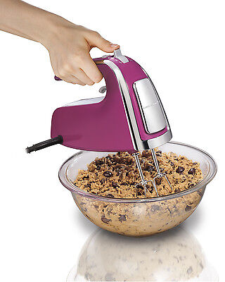 مضرب يدوي جديد Hamilton Beach 6-Speed 290 Watt Hand Mixer with Snap on Case and Pulse, Purple