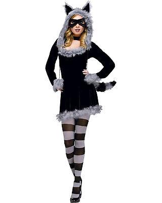 Racy Raccoon Women's Adult Halloween Costume Medium Large Size 10-14