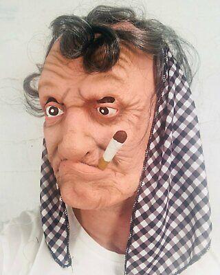 Alte Frau Oma Maske Grau Haare Damen Nonne Halloween Kostüm Masken