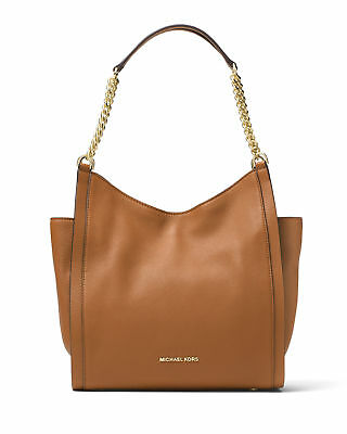 $328 MICHAEL KORS Newbury Medium Chain Shoulder Bag Tote Leather Acorn Tan Brown