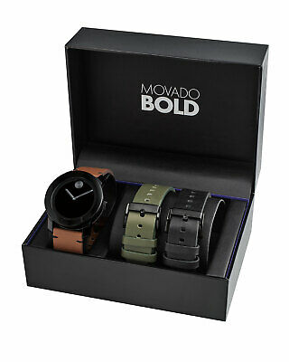 Movado Bold Mens Watch Leather Strap Watch Set 42mm New