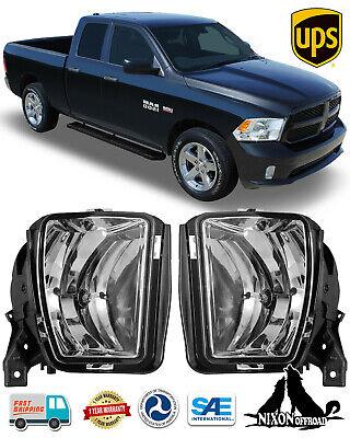 Clear Lens Fog Lights Driving Lamp For 2013-2018 Dodge Ram 1500 Pickup w/Bulbs