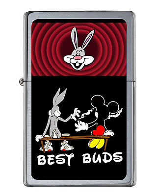 Bugs Bunny Mickey Mouse Best Buds Share Joint Flip Top Lighter Brushed
