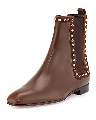 100% AUTH NEW WOMEN LOUBOUTIN MARIANNE 70 SPIKE SIDE GORE FLAT BOOTY/BOOTS US 8