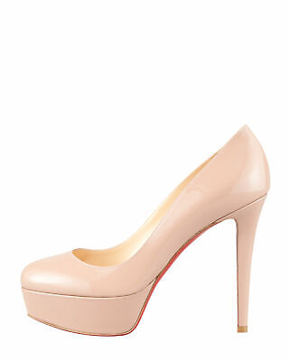 NEW $875 Christian Louboutin Bianca Platform Patent Leather Pump Nude 40