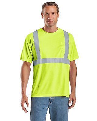 Cor-Bright Lime Green Class 2 Hi-Viz T-Shirts Moisture Wicking Mesh-ANSI/ISEA