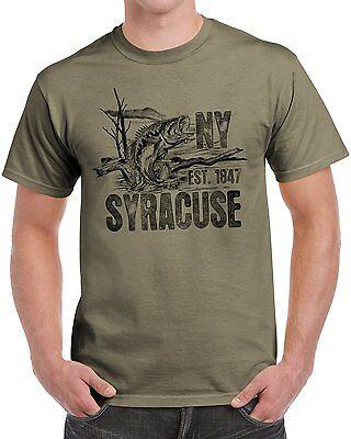 New York Bass - New York State USA Gift Syracuse mouth Sea Bass Printed Tee Shirt PrairieDust