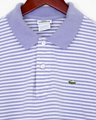 Lacoste, size 5, men's short sleeve polo, purple white striped