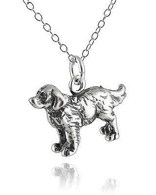 Golden Retriever Dog Necklace - 925 Sterling Silver - 3D Animal Charm Dogs NEW 3d Golden Retriever Charm