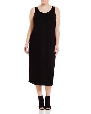 NEW EILEEN FISHER BLACK VISCOSE JERSEY SCOOP NECK FULL LENGTH TANK DRESS 2X $218