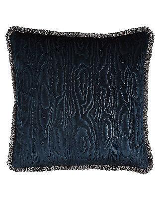 Sferra Abbey Velvet Blue Throw Pillow Decorative Fringed Marcus Square Italy NEW
