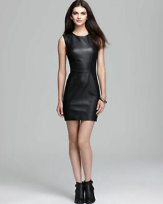 NWT Rebecca Minkoff Logan in Black Lambskin Leather Ponte Pieced Mini Dress (Ponte Mini)