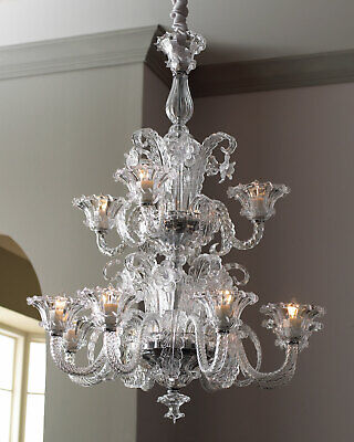 New Horchow Murano-Venetian Style Clear Glass Chandelier 2tier Light Fixture 43