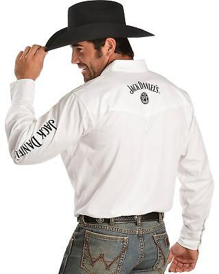 Jack-Daniels Men's White Long Sleeve Rodeo Shirt AUTHORIZED RETAILER (Mens Retailers)