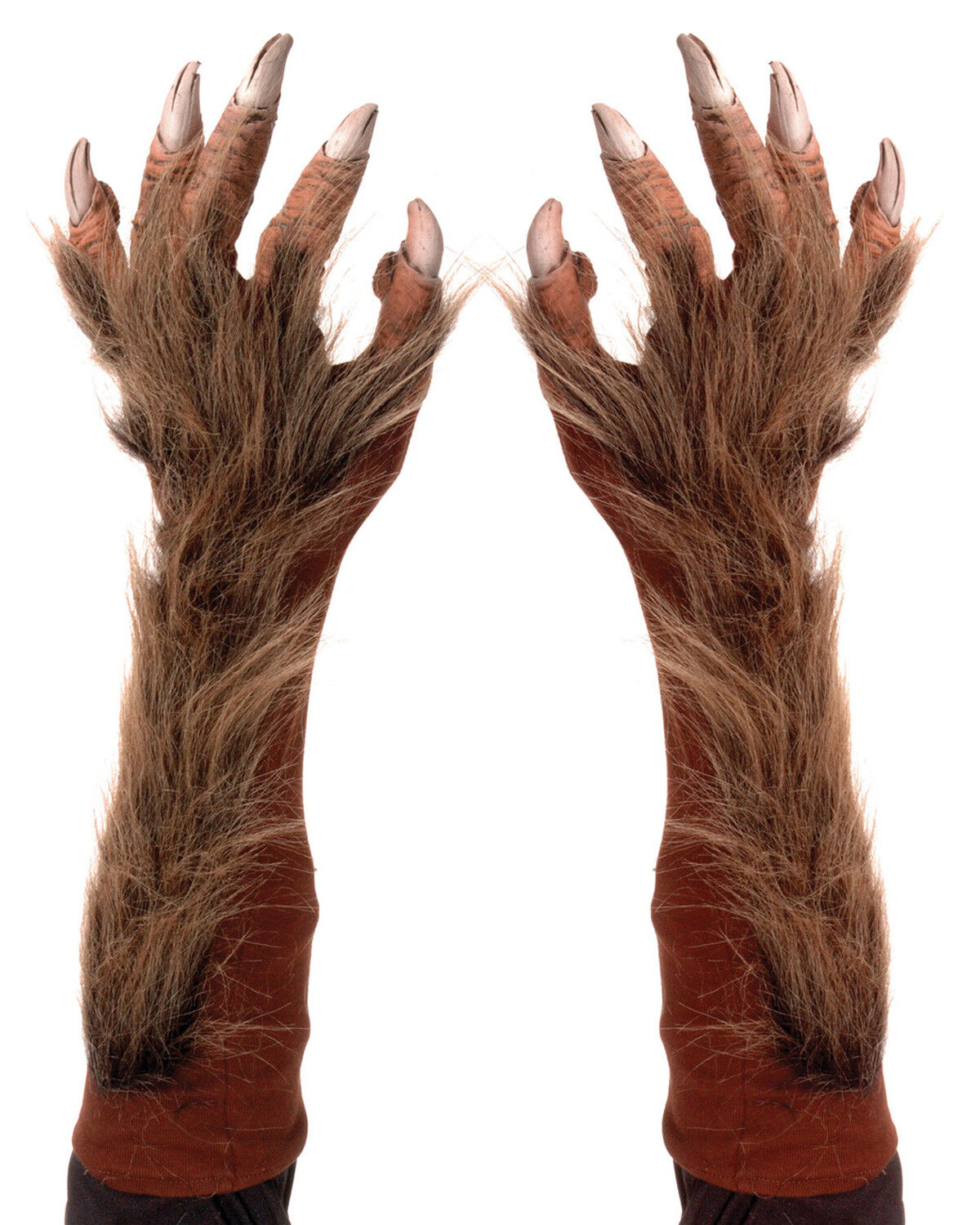 Adult Elbow Length Werewolf Hands Brown One Size.