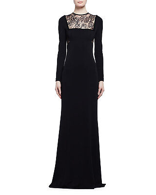 NWT Alexander McQueen Long-Sleeve Butterfly Lace-Inset Gown black dress size 44 Butterfly Lace Long Dress