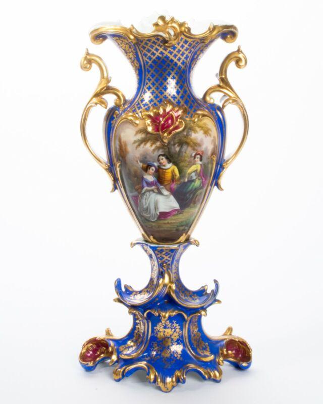 "Antique Rococo Porcelain Vase Blue & Gold Painted Watteau Courting Scene 19"" T"