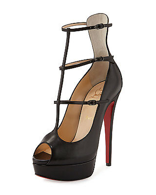 100% AUTH NEW WOMEN LOUBOUTIN SISTOERLESS 150 SHINY BLACK CALF PUMP/HEEL US 11