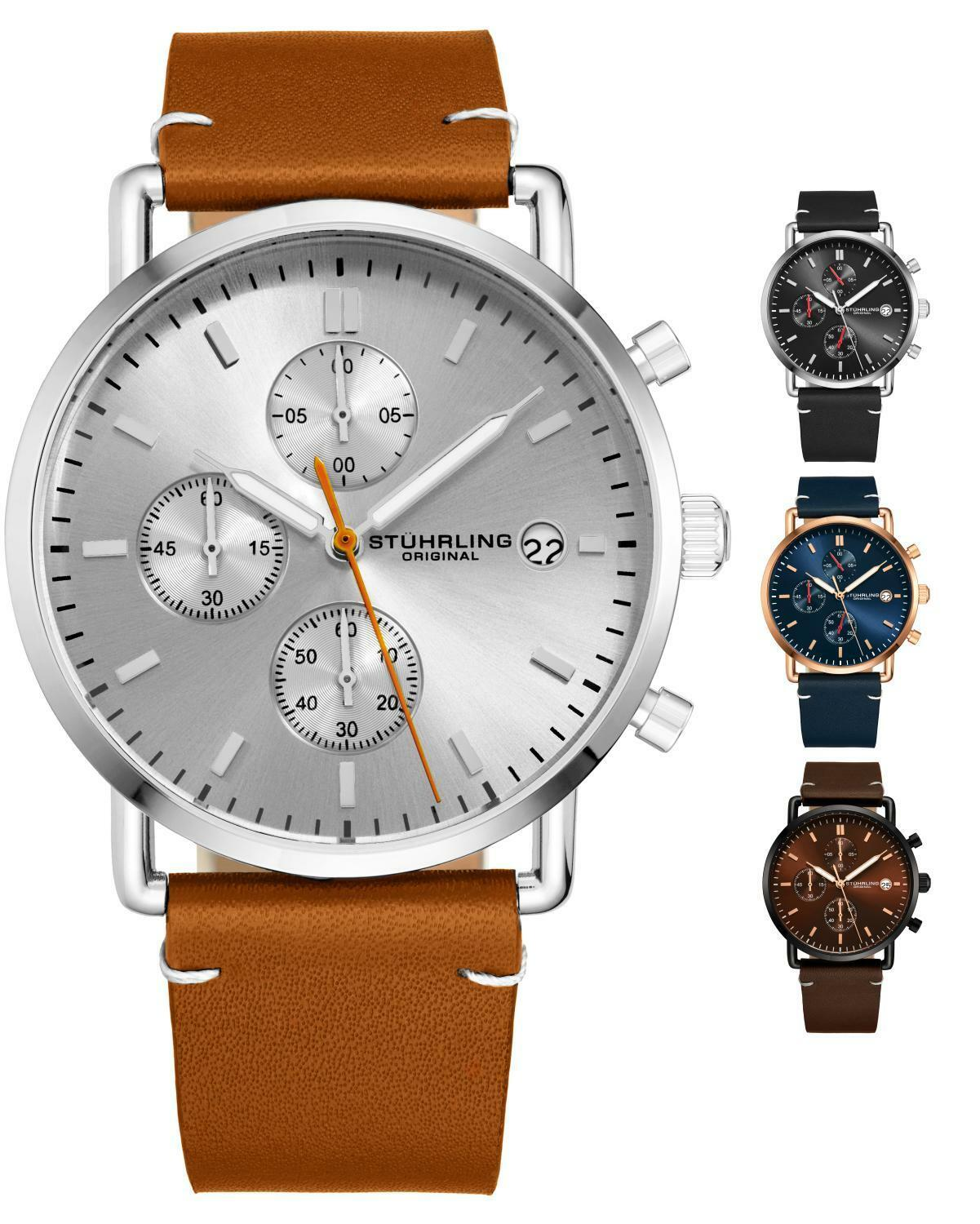 e4700118c Stuhrling 3903 Men's Sports Chronograph Japan Quartz Genuine Leather ...