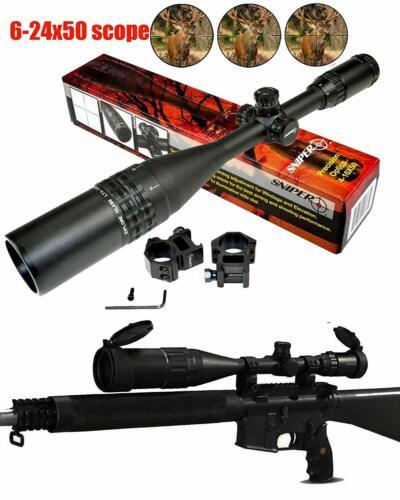 Sniper 6-24x50AOL Rifle Scope illuminated W/ Quick Lock and Zero W/E Adjustment