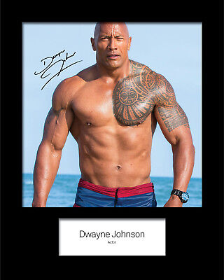 DWAYNE JOHNSON #2 Signed (Reprint) 10x8 Mounted Photo Print - FREE DELIVERY