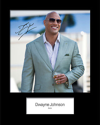 DWAYNE JOHNSON #1 Signed (Reprint) 10x8 Mounted Photo Print - FREE DELIVERY