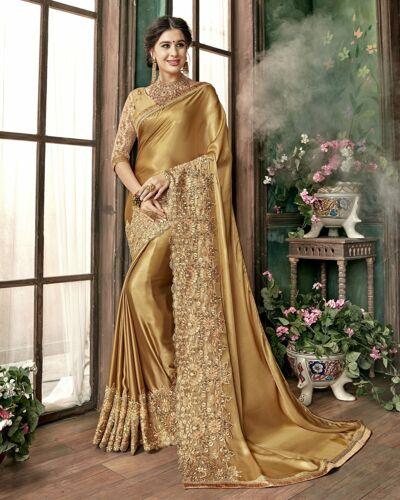 Sari Indian Ethnic Designer Golden Silk Embroidery Saree for Party wear(K817)