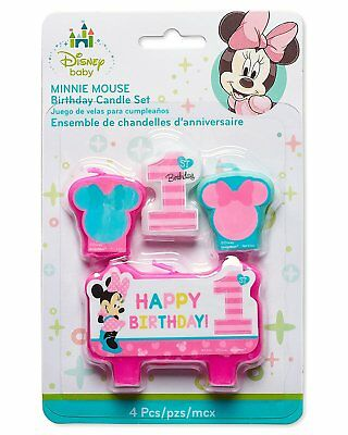 Baby Minnie Mouse 1st Birthday Mini Molded Candles 4ct Party Cake Decoration - Minnie Mouse Cake Decoration