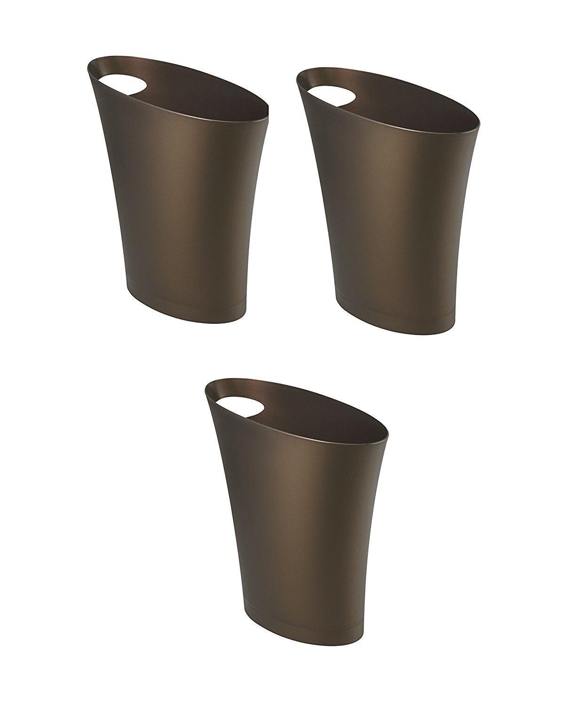 Umbra Skinny Waste Can, Bronze, 3-Pack