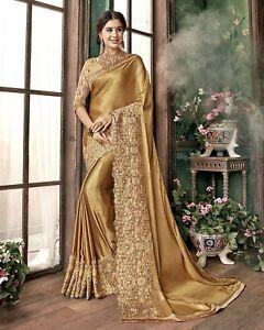 Golden Embroidery India Bollywood Designer Sari Indian Traditional Ethnic Sar0