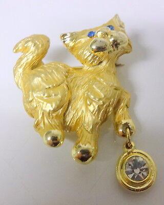 Vintage Signed GJusti Cat w Dangle Bowl Rhinestone Pin Brooch