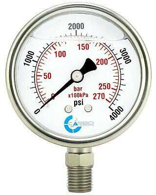 2 Pressure Gauge Stainless Steel Case Liquid Filled Lower Mnt 4000 Psi