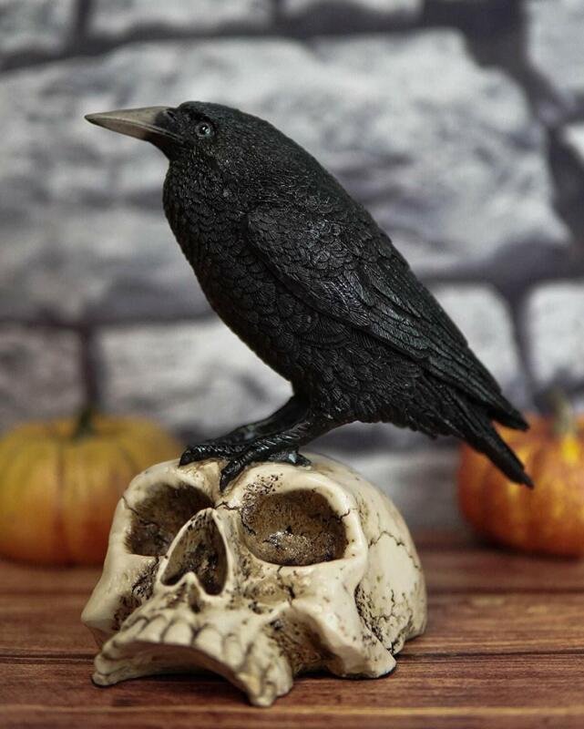 "Ebros Gothic Raven Perching On Skull Statue 7.25"" High Crow Scavenger Figurine"
