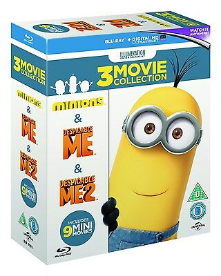 Minions Collection  Despicable Me 1   2   Minions  Blu Ray Box Set  Region Free