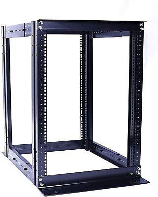 """15U 4 Post Open Frame Server Rack Enclosure 19"""" Adjustable Depth"""