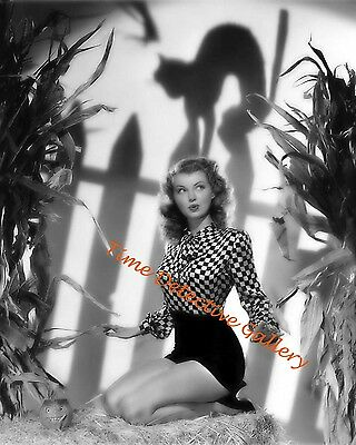 Halloween Pin Up (Halloween Pin-up Girl Lillian Wells with Cat Shadow - 1940s- Vintage Photo)